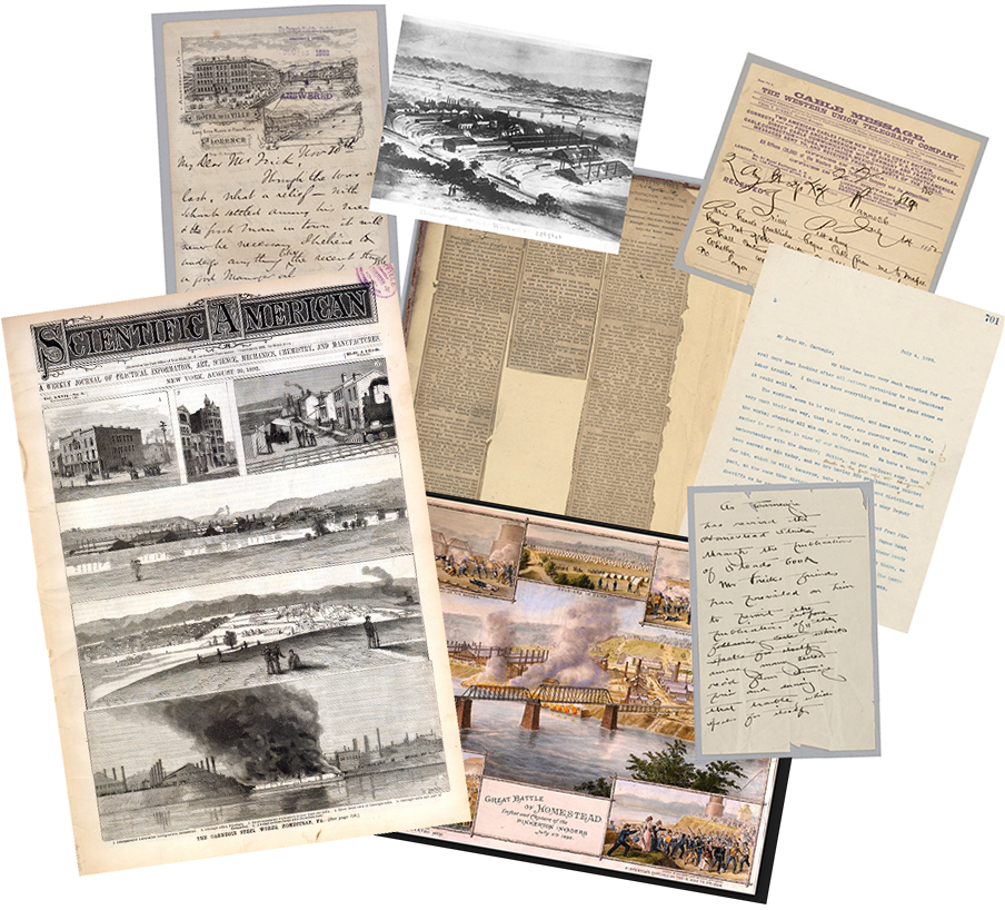 Examples of various materials such as news paper clippings, letters, and illustrations pertaining to the Homestead Steel Strike of 1892